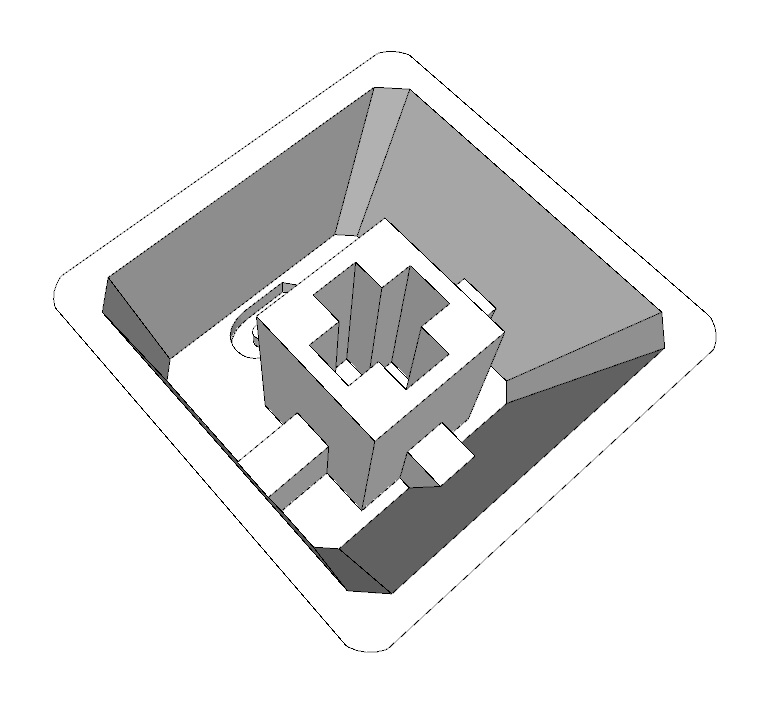 3d rendering of keycap upside down