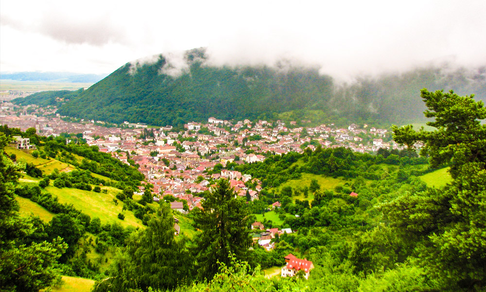 Over look of Brasov from a mountain road in central Romania