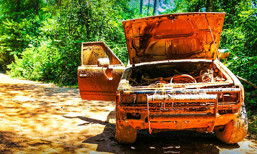 Abanded truck on a mudding trail. Obviously got a little ambitious