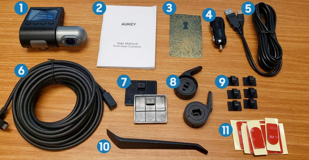 AUKEY DRS2 Dual Camera Dashcam components