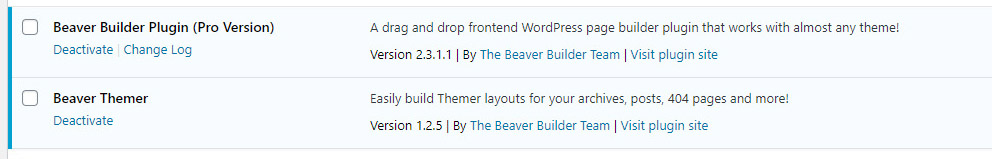 Beaver Builder core plugins