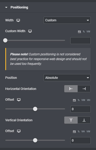 Positioning options found in Elementor widgets