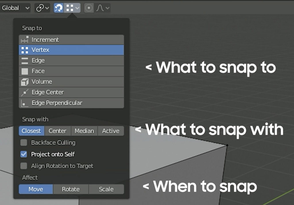 snap selection menu