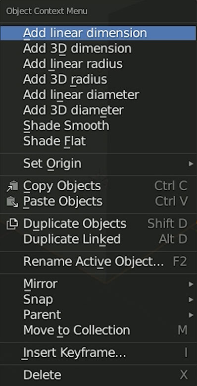 object context menu